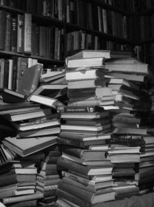 You would never ever see a scattered pile of books (unorganized!) in my house.