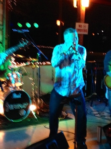 My buddy Glenn, singing with the band.  Now that's courage.