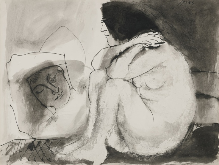 Pablo Picasso Sleeping man and sitting woman